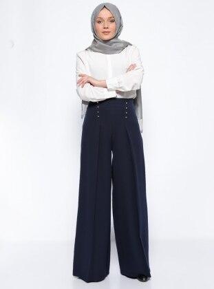 Düğme Detaylı Pantolon - Lacivert İroni