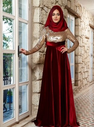 Mevra Laura Abiye Elbise - Gold Bordo