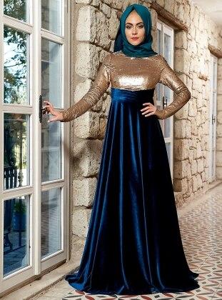 Laura Abiye Elbise - Gold Petrol