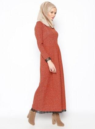 Modesty Dantel Aplikeli Elbise - Kiremit