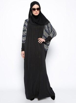 Desenli Elbise - Siyah Mavi Beyaz Arzu Ergen