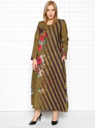 Drop Baskılı Elbise - Safran - he&de