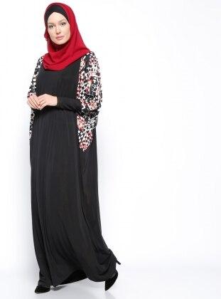 Kare Desenli Elbise - Siyah Kırmızı Beyaz