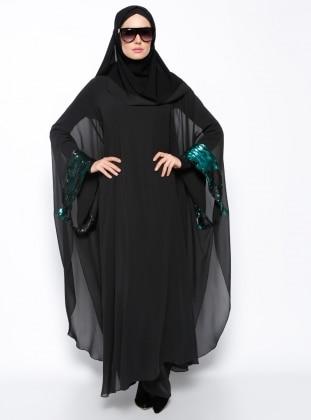 Payetli Tunik - Siyah Yeşil Arzu Ergen