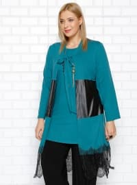 Green - Crew neck - Unlined - Plus Size Suit