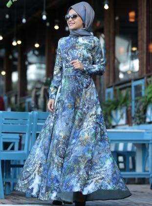MİSS ZERA Ebru Elbise - İndigo