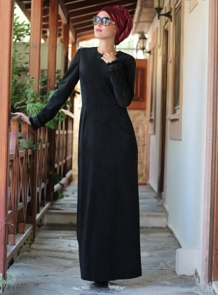 Kadife Elbise - Siyah Selma Sarı Design
