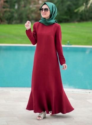 Volanlı Elbise - Bordo