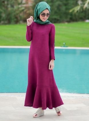 Volanlı Elbise - Fuşya