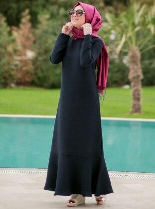 Volanlı Elbise - Lacivert