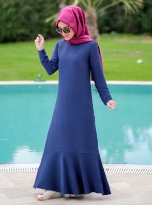 Volanlı Elbise - Petrol