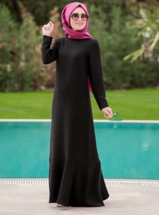 Volanlı Elbise - Siyah
