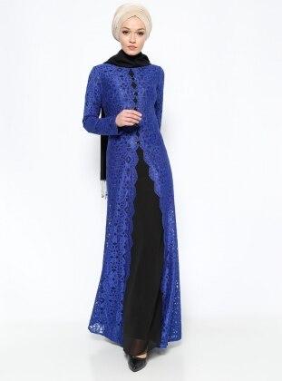 Boncuk Detaylı Abiye Elbise - Saks