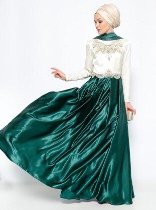 Boncuk İşlemeli Abiye Elbise - Yeşil
