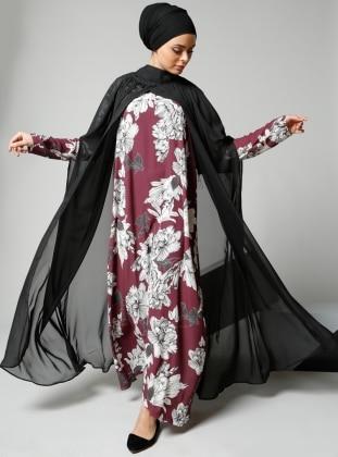 Çiçek Desenli Şifon Pelerinli Elbise - Mürdüm