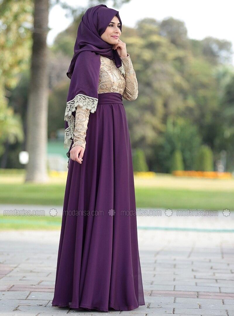 Crew neck - Fully Lined - Purple - Muslim Evening Dress - SomFashion