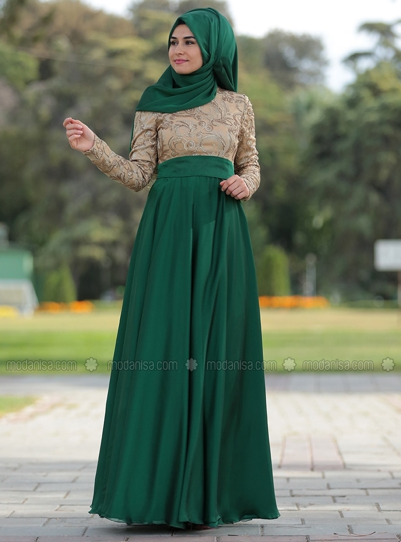 Green - Crew neck - Fully Lined - Muslim Evening Dress