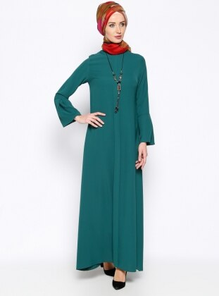 Kolyeli Elbise - Yeşil