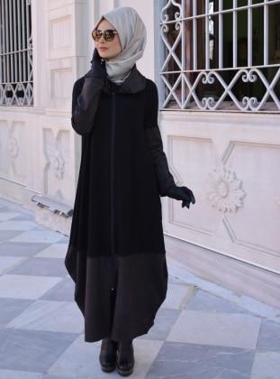 Henna Elisa Nubuk Detaylı Salaş Pardesü - Siyah Antrasit