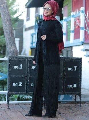 Püsküllü Kadife Ceket&Pantolon İkili Takım - Siyah