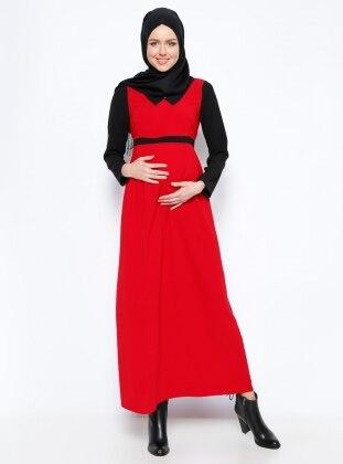 Garnili Hamile Elbise - Kırmızı Siyah Havva Ana