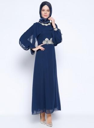 Güpür Detaylı Abiye Elbise - Lacivert
