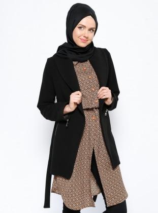Şal Yaka Kaban - Siyah Eva Fashion