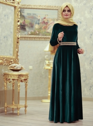 SÜMEYRA AKSU Leydi Abiye Elbise - Yeşil