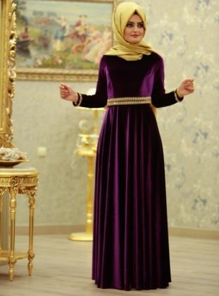SÜMEYRA AKSU Leydi Abiye Elbise - Mor