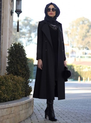 Black - Black - Fully Lined - Shawl Collar - Coat