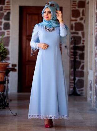 Buse Elbise - Buz Mavi