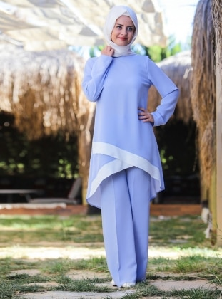 Çağla Tunik&Pantolon İkili Takım - Bebe Mavisi Ecmel Verde