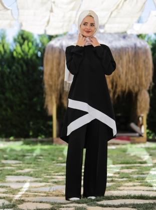 Ecmel Verde Çağla Tunik&Pantolon İkili Takım - Siyah