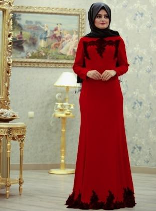 Cemre Kuyruklu Abiye Elbise - Kırmızı