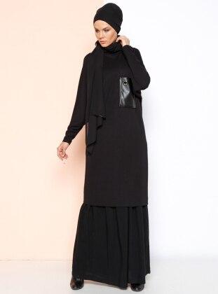 Cep Detaylı Tunik - Siyah