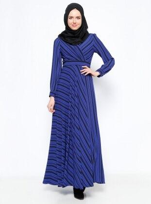 Çizgili Elbise - Saks Eva Fashion