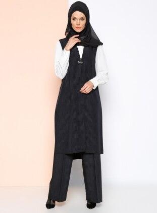 Çizgili Pantolon - Siyah