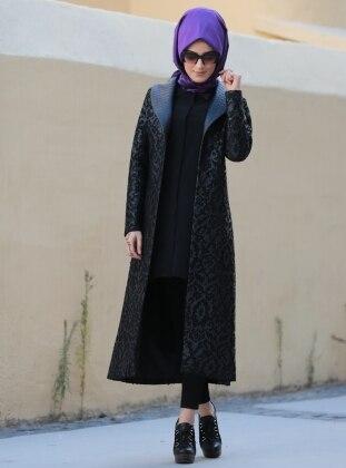 Deri Detaylı Ceket - Siyah ZEVORA BY ZEHRACE