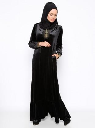Drop Baskılı Kadife Abiye Elbise - Hardal Ginezza