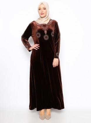 Drop Baskılı Kadife Elbise - Kahverengi Ginezza
