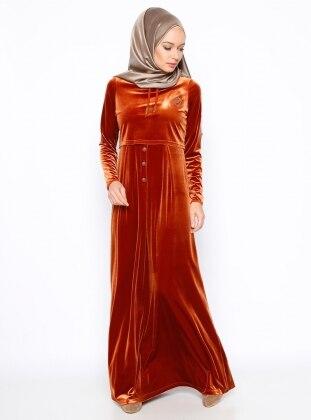 Düğme Detaylı Kadife Elbise - Kiremit Ginezza