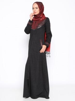 Fermuarlı Ferace - Siyah Ginezza