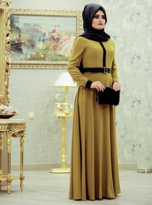 Linsa Elbise - Asit Yeşili