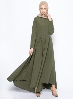 İroni Pileli Elbise - Haki