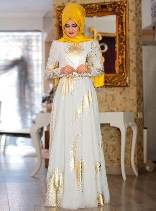 Prenses Abiye Elbise - Ekru