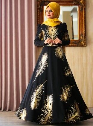 Prenses Abiye Elbise - Siyah