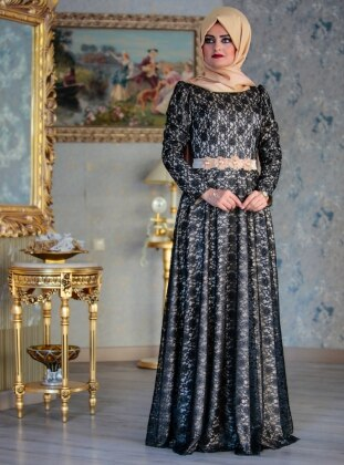 Roza Abiye Elbise - Siyah