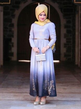 Dore Varaklı Burcu Abiye Elbise - Gri