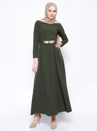 New Kenza Çiçek Süslemeli Elbise - Haki