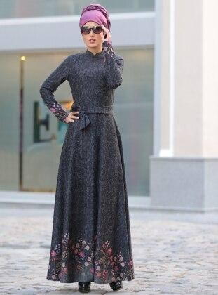 Eteği Çiçekli Elbise - Antrasit
